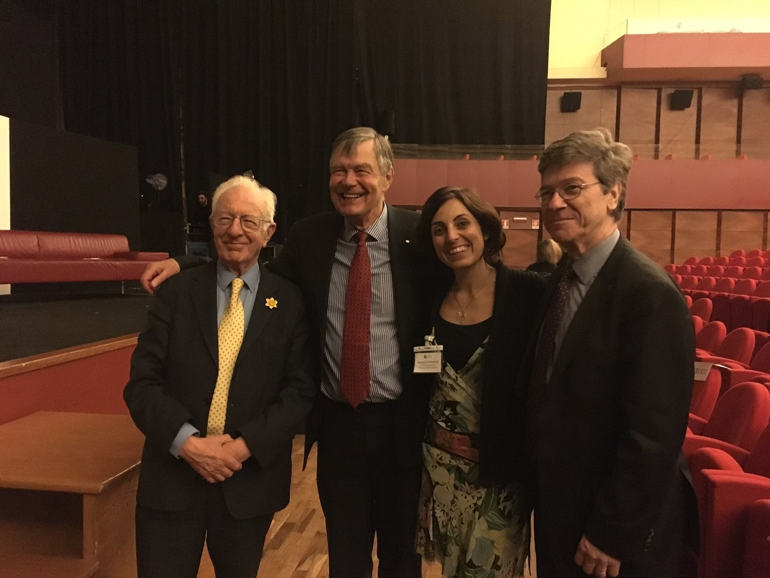 Richard Layard, John Helliwell, and Jeffrey Sachs — the original editors of the World Happiness Report — along with public speaker and former global director of the Coca-Cola Happiness Institute Silvia García Barnechea.World Happiness Report